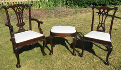 Chippendale dining set and stool