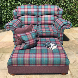 2-seater sofa, footstool and cushions