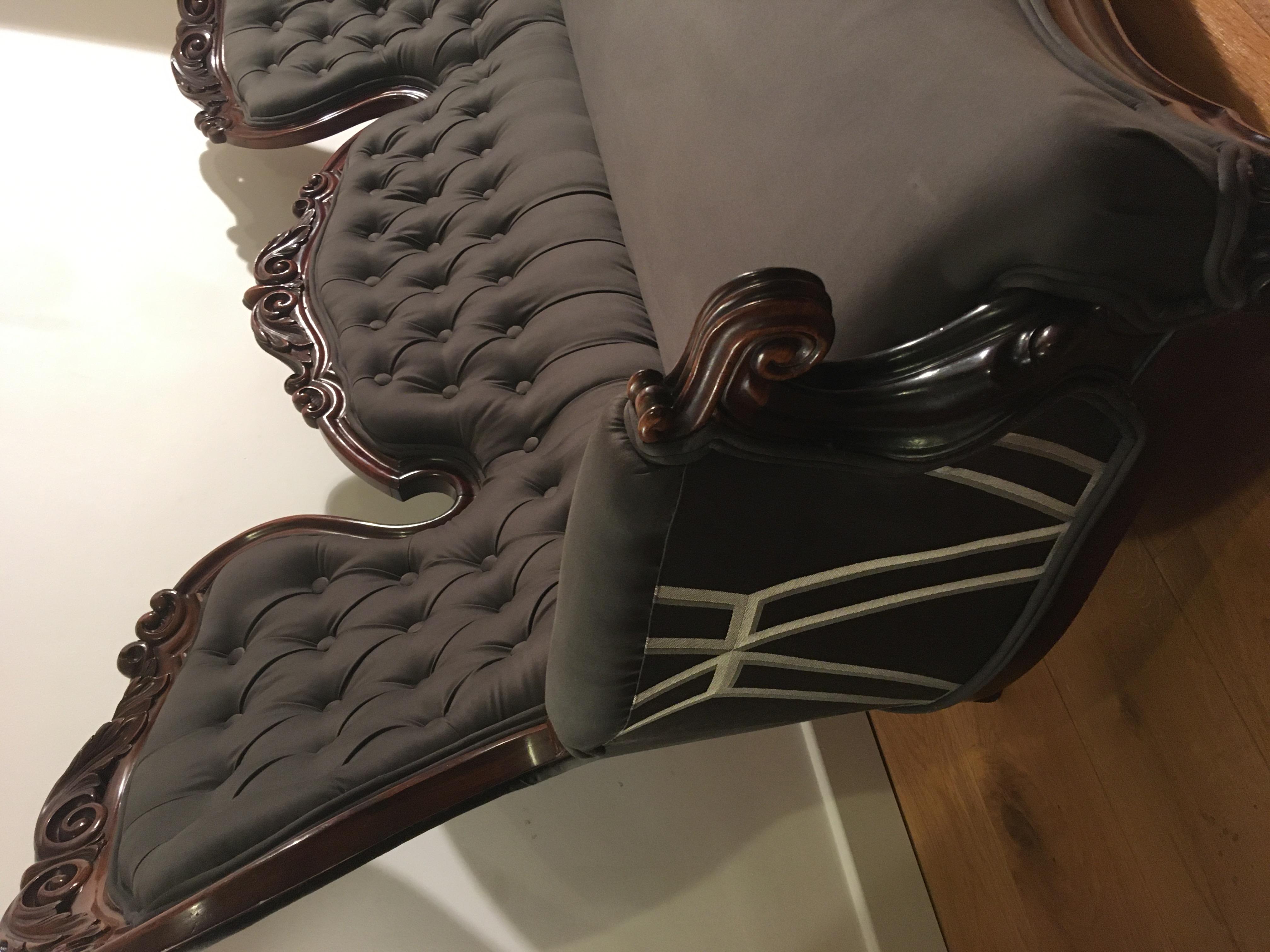 Antique Victorian mahogany settee;