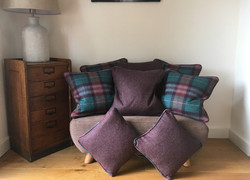 Custom cushions in contrasting fabrics