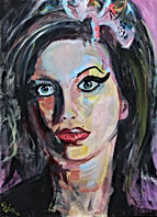 Amy Winehouse Acryl auf Linewand 70 x 50