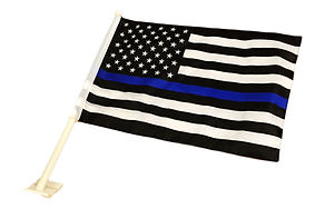 Thin Blue Line American Car Flag