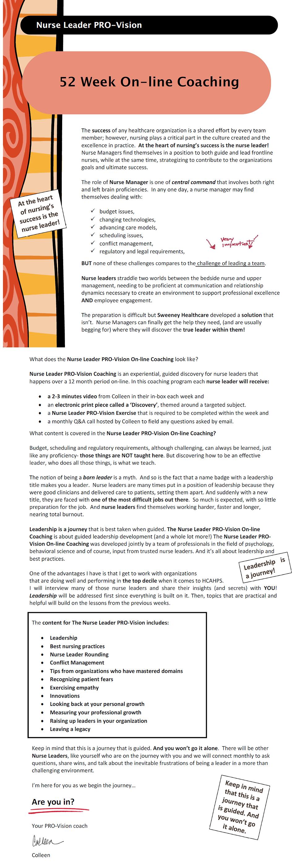 On-line Coaching Program for Nurse Leaders