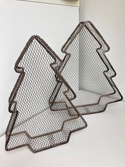 Set of 2 Vintage Metal /Wire Christmas Tree Baskets