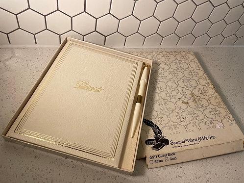 Vintage Samuel Ward Mfg. Gold Guest Book w/ Pen