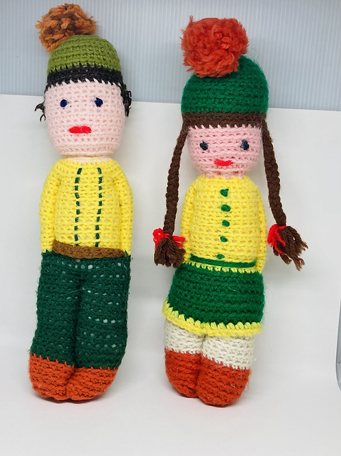 Vintage Set of 2 Handmade Crocheted Girl & Boy Dolls