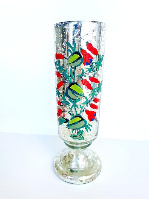 Floral Painted Mercury Vase