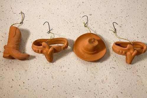 Set of 4 Vintage Terra-cotta Clay Cowboy Ornaments