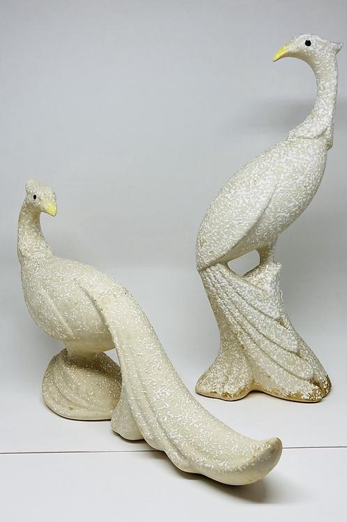 Set of 2 Vintage Mid Century White Textured Ceramic Birds of Paradise by