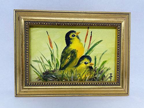 Vintage Framed Birds Painting