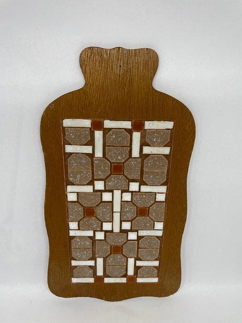 Vintage Handmade Tile & Wood Kitchen Wall Hanging