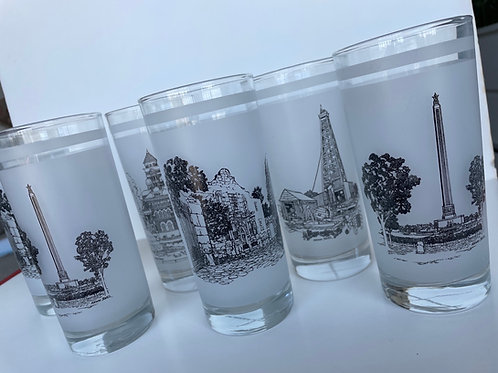 Set of 6 Vintage 150th Anniversary of TX Commemorative Glasses