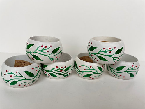 Set of 6 Hand Painted Wooden Napkin Rings Made in India