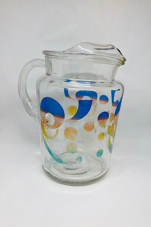 Vintage Retro Bubbles & Circles 64oz Drink Pitcher w/ Lip