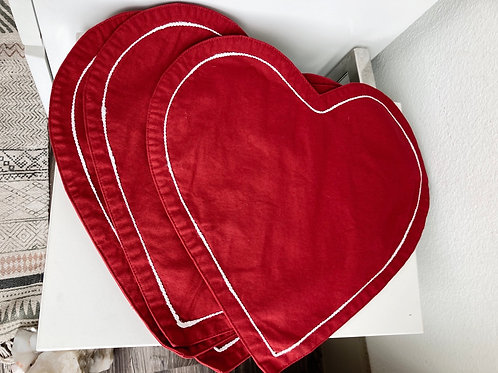 Set of 4 Vintage Heart Cloth Table Placemats