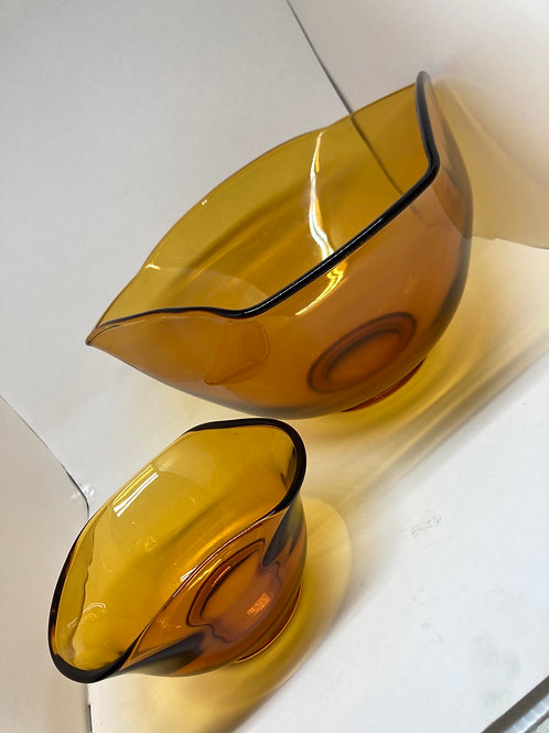 Set of 2 Vintage Hand Blown Amber Glass Serving Bowls
