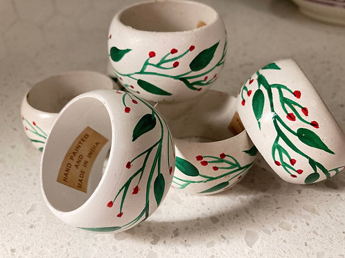 Set of 6 Wooden Berry Napkin Rings