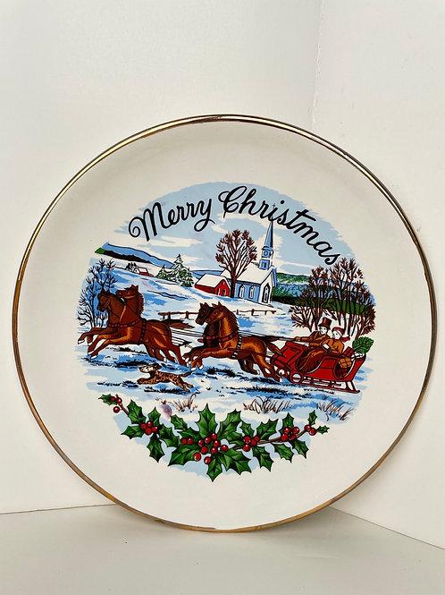 Vintage Merry Christmas Plate