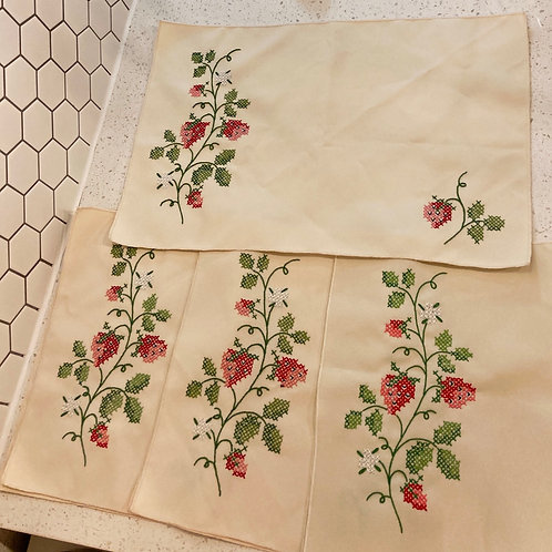 Set of 4 Vintage Strawberry Placemats or Napkins