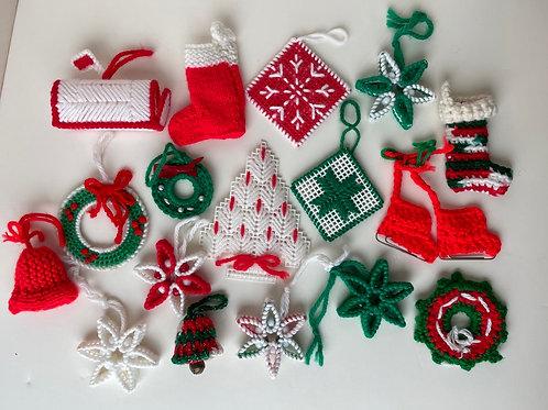 Set of 17 Handmade Knit Christmas Ornaments