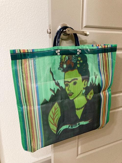 Handmade Green Printed Frida Kahlo Mesh Recycled Large Tote Bag