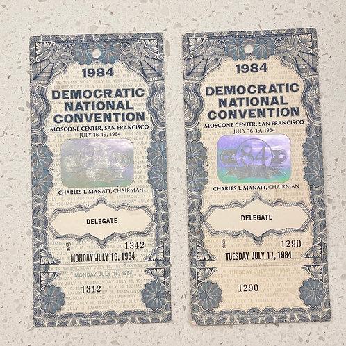 Set of 2 Vintage 1984 Democratic Natl Convention Ticket