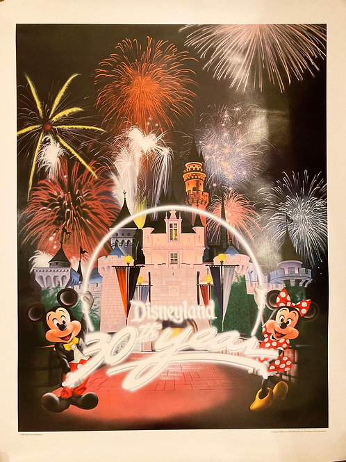 Vintage Disneyland 30th Anniversary 1985 Cast Member Exclusive Poster