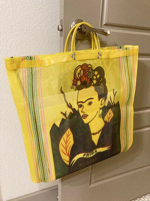Handmade Yellow Printed Frida Kahlo Mesh Recycled Large Tote Bag
