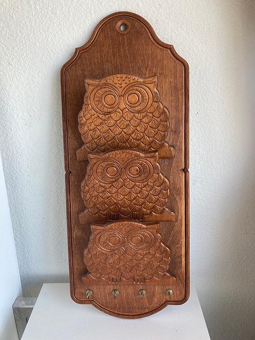 Vintage Owl Wooden Wall Hanging Letter & Key Holder