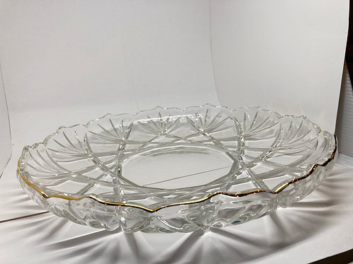 Vintage Scalloped Edged Crystal Cut Glass Platter w/ Gold Rim