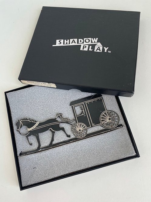 Vintage Metal Shelia's Shadow Play Horse & Buggy Collectible