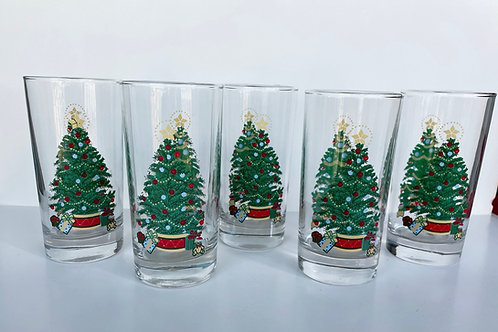 Set of 5 Vintage Christmas Tree Drinking Glasses