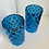 Thumbnail: Set of 2 Tall Blue Mercury Glass Lanterns or Vases