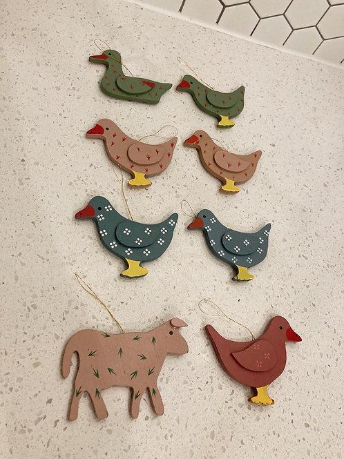 Set of 8 Vintage Wooden Handmade Duck Ornaments