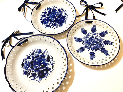 Set of 3 Blue & White Hanging Plates