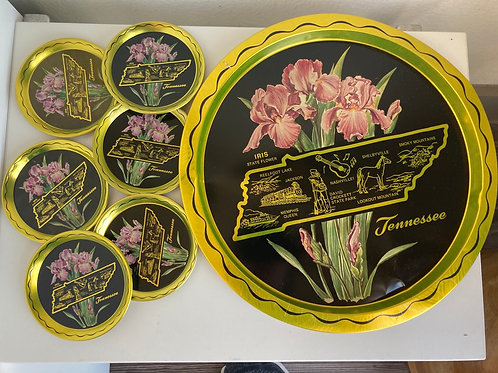 Vintage Tennessee Metal Tray and Set of 6 Coasters