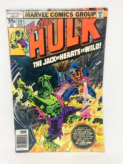Vintage The Incredible Hulk #214 Marvel Comic Book '77