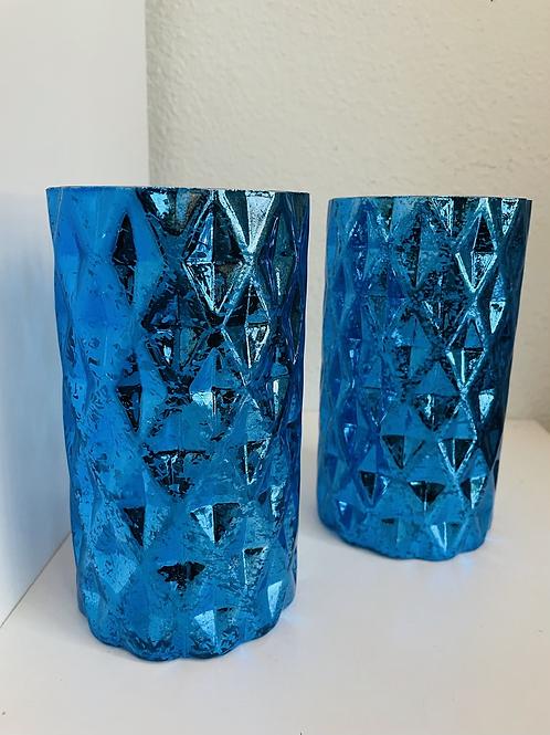 Set of 2 Tall Blue Mercury Glass Lanterns or Vases