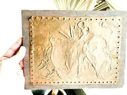 Vintage Bull Fight Bronzed Tin Piece Nailed on Wood Art