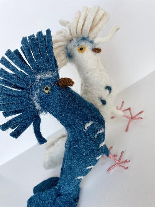 Hand-Made Felt White or Blue Ouseau Bird