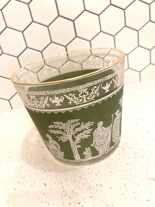 Vintage Jeanette Glass Wedgewood Grecian Green Hellenic Bowl