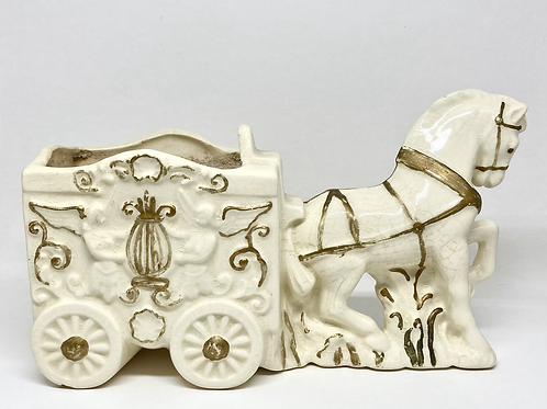 Vintage Ceramic Carriage Planter