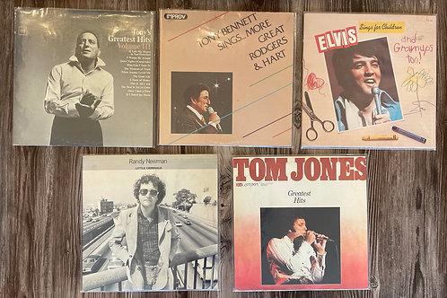 Set of 5 Vintage Records: Tony Bennett, Elvis, Randy Newman & Tom Jones