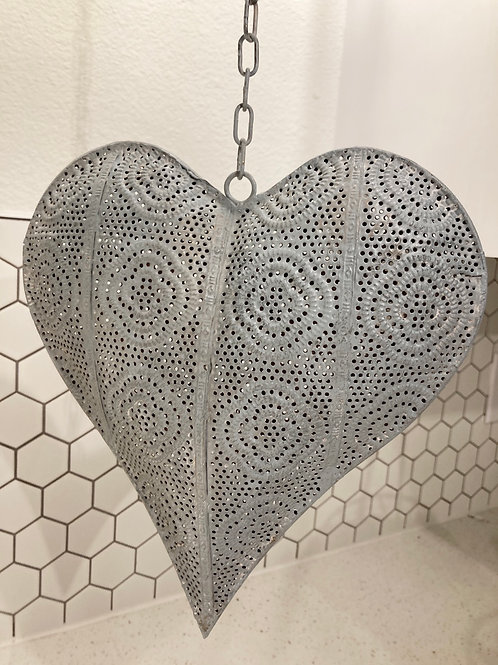 Light Grey Metal Hanging Heart Decor