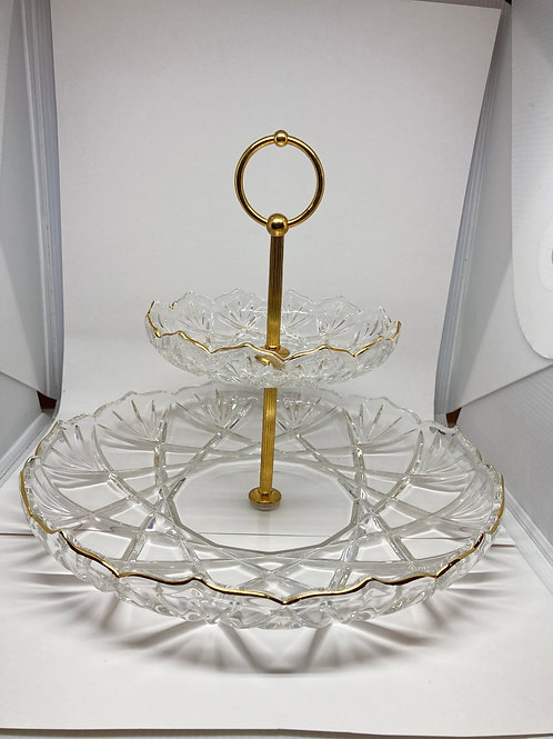 Vintage Two Tier Gold Accented Scalloped Edged Crystal Cut Glass Serving Tray