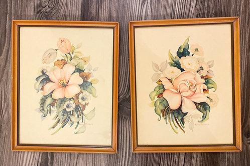 Set of 2 Vintage 1942 Framed Floral Prints