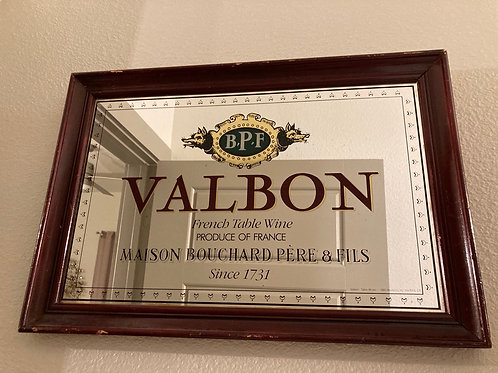 Vintage Valbon Framed Mirror Bar Sign