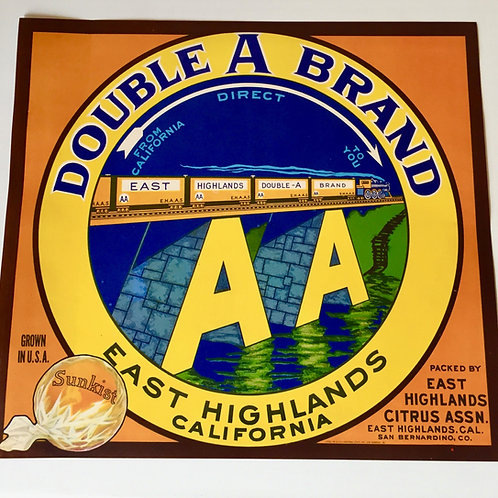 Authentic 1940s Train on Double A Bridge Sunkist Orange Crate Label