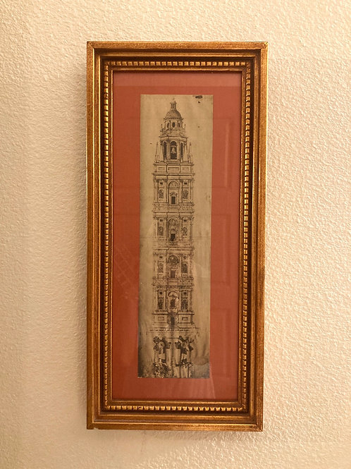 Vintage Framed Medieval Blueprint of an Italian Tower Numbered