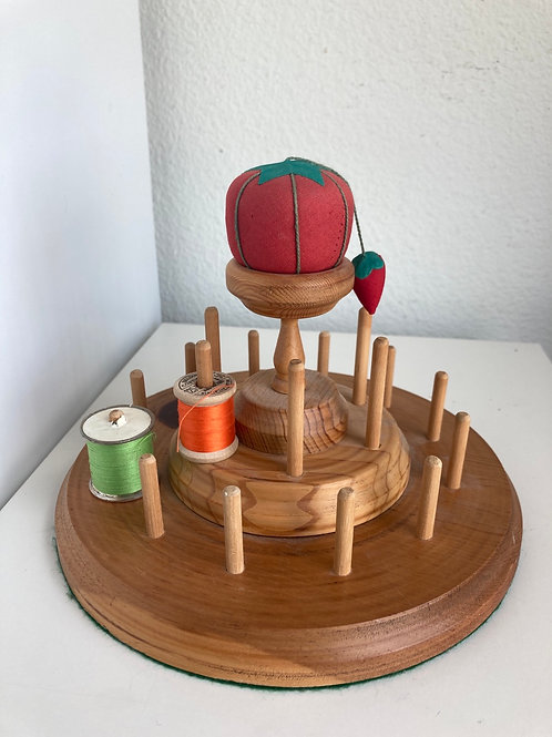 Vintage Wooden Round Thread Holder & Pin Cushion